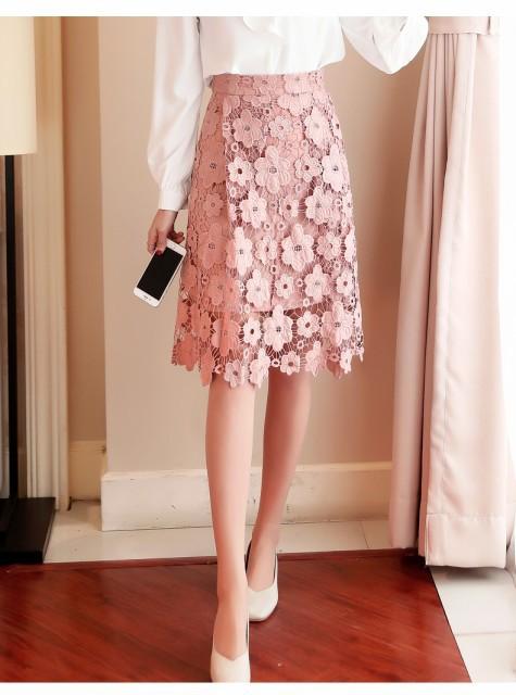 膝丈 花柄レーススカート(ピンク)春夏 お出かけ 食事会 フォーマル パーティー