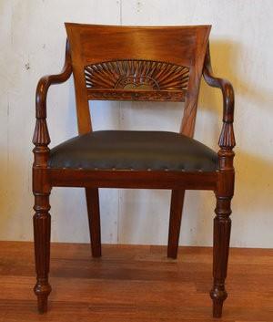 アジアン雑貨 マタハリ彫刻 ダイニングチェアひじ置き付き 椅子