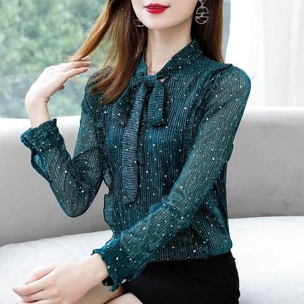 ブラウス グリーン ピンク 長袖 かわいい 韓国 オシャレ デート服 フリルブラウス 韓国 フリルブラウス 大きいサイズ レース 刺繍