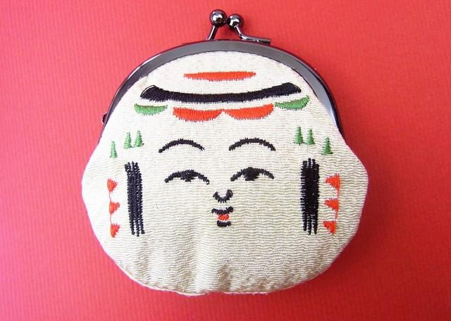 ちりめん刺繍ガマ口 日本の民芸「こけし」
