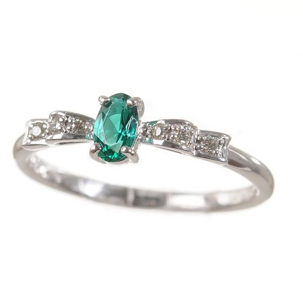 超歓迎された リボン クレサンベール オーバル リング K18ホワイトゴールド エメラルド 指輪 プレゼント 京セラ 5月誕生石-指輪・リング