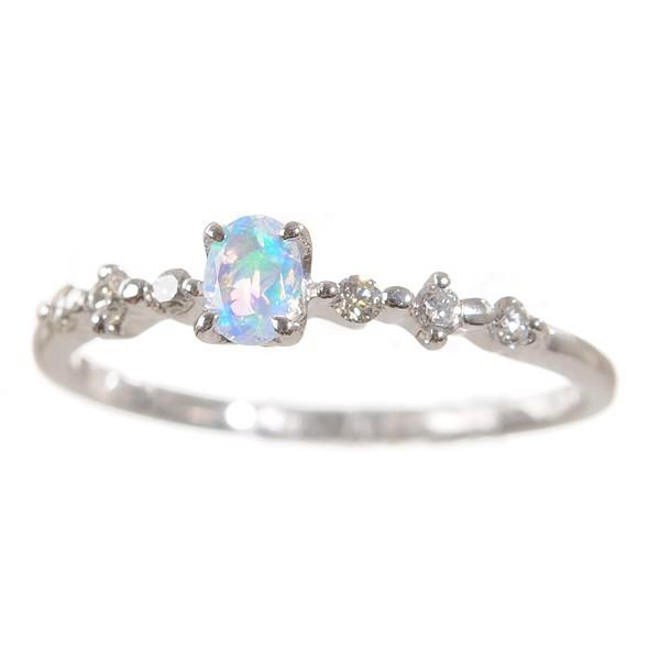 割引クーポン プレゼント 10月誕生石 リング クレサンベール 指輪 1石 K18ホワイトゴールド オーバル ウォーターオパール 京セラ-指輪・リング