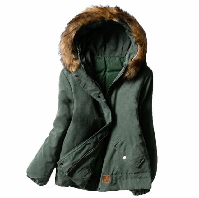 秋冬 コート レディース アウター  モッズ コート レディース 裏起綿 モッズコートファー付き 取り外し可 フード付き