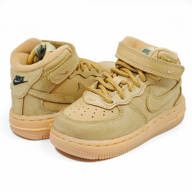 newest ccc48 4be31 キッズサイズ 10cm~16cm NIKE AIR FORCE 1 MID LV8 (TD) TODDLER FLAX