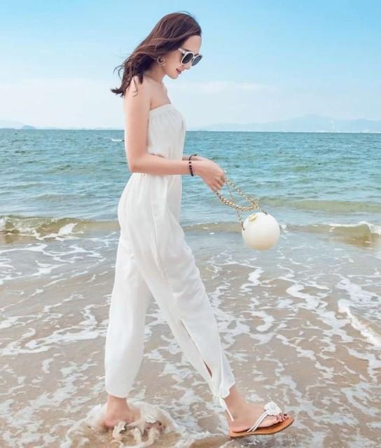 韓国 オルチャン オールインワン サロペット ストラップなし チューブトップ ゆったり 涼し気 ハイウエスト 裾リボン