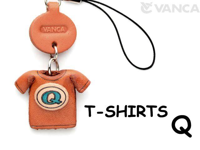 Tシャツ Q (青) 携帯ストラップレザー 本革 VANCA/バンカクラフト革物語 40647