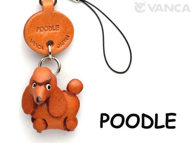 プードル  犬 携帯ストラップ/レザー 本革 VANCA/バンカクラフト革物語 40756