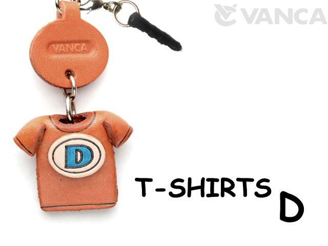 Tシャツ D (青) イヤホンジャックアクセサリーレザー 本革 VANCA/バンカクラフト革物語 43634