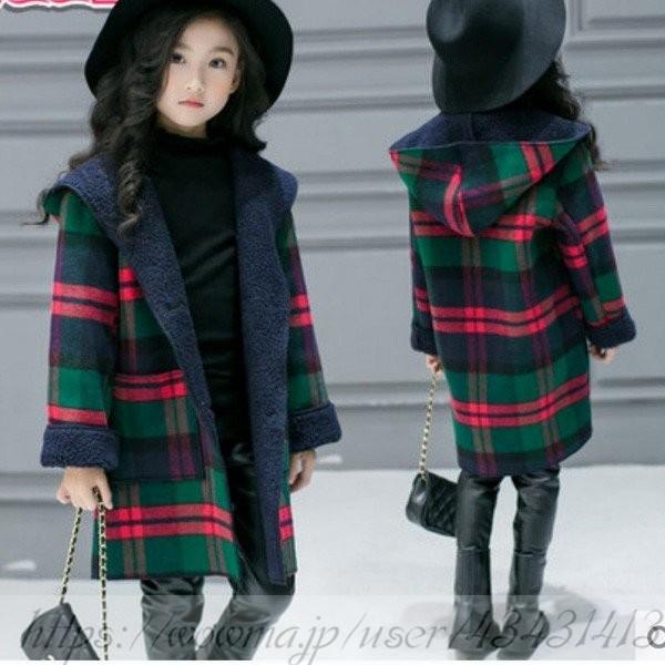 78548a7695553 子供服 女の子 ダッフルコート ロング 韓国子供服 フード付きコート チェック柄 裏ボア