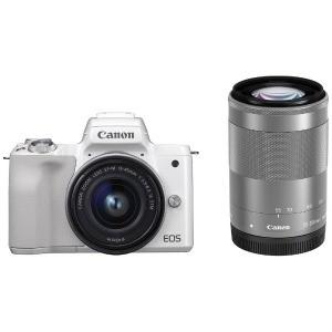 お待たせ! Canon EOS Kiss M(ダブルズームキット) ホワイト ミラーレス一眼カメラ-カメラ