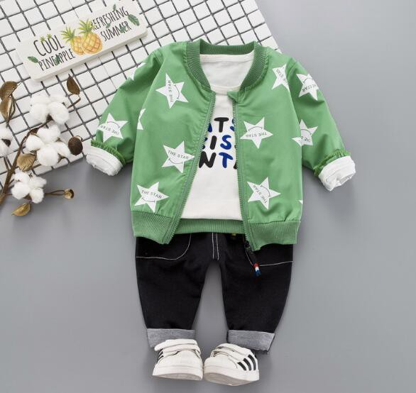 8e2e72517a2bc キッズ ベビー服 3点セット 上下セット 子供服 秋 冬 セットアップ 長袖 星柄 プリント