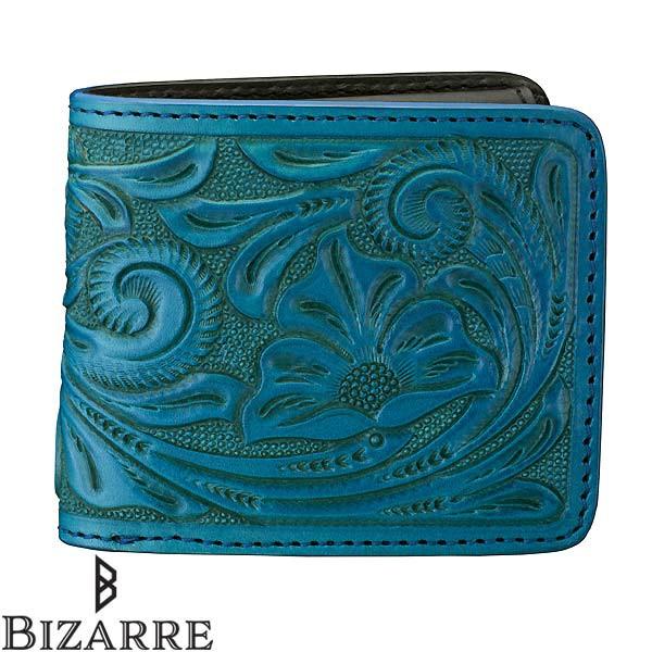 db24f99431a5 Bizarre ビザール カービング レザー 二つ折り ショート ウォレット ターコイズ 財布 メンズ レディース LWG030TQ 送料無料