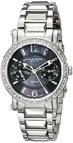 豪華 Diamond Diamond XXIV レディー Watch and 腕時計 Swiss Day Date AKR472SS Collection XXIV]Akribos Lady 【[アクリボス-腕時計レディース