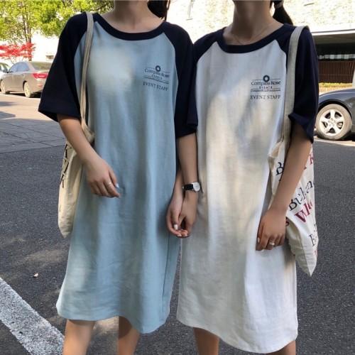 Tシャツワンピース ラグラン 半袖 ゆったり ビックシルエット 韓国ファッション オルチャンファッション