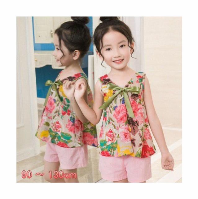 032c9bb722c84  送料無料 子供服 上下セット服 花柄ブラウス 女の子 キッズ ノースリーブ 袖