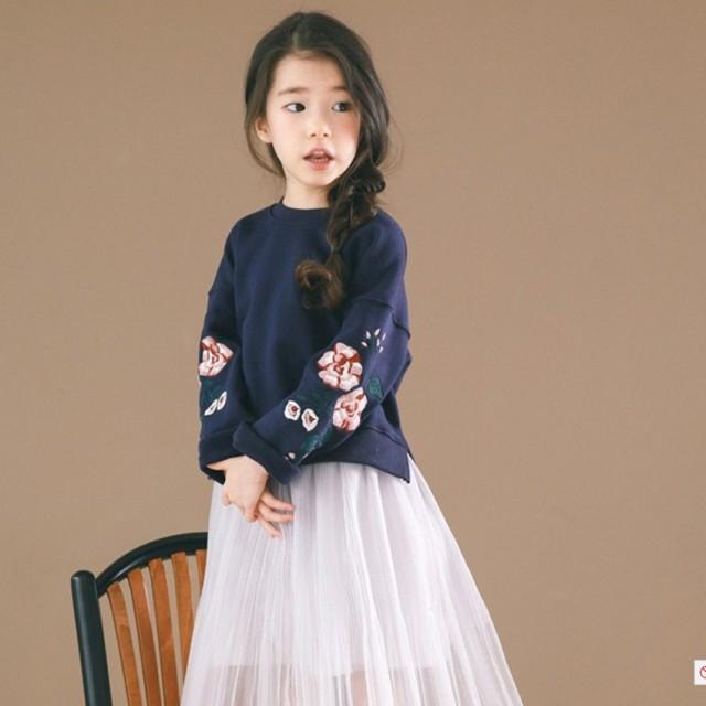 00ffd5fb7342b  送料無料 子供服 トレーナー 女の子 キッズ ネイビー 韓国子供服 スウェット ブラウス 長袖