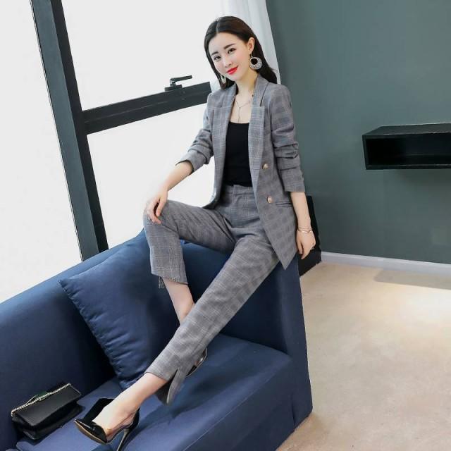 c8dbf9931654 【送料無料】チェック柄セットアップ 韓国ファッション レディース トレンド パーティー/パンツ ジャケット スーツ