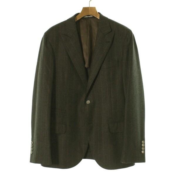 定番 CUCINELLI 色:グレー系x茶系(ストライプ) ジャケット BRUNELLO メンズ サイズ:50(XL位) / ブルネロ クチネリ-ジャケット・アウター