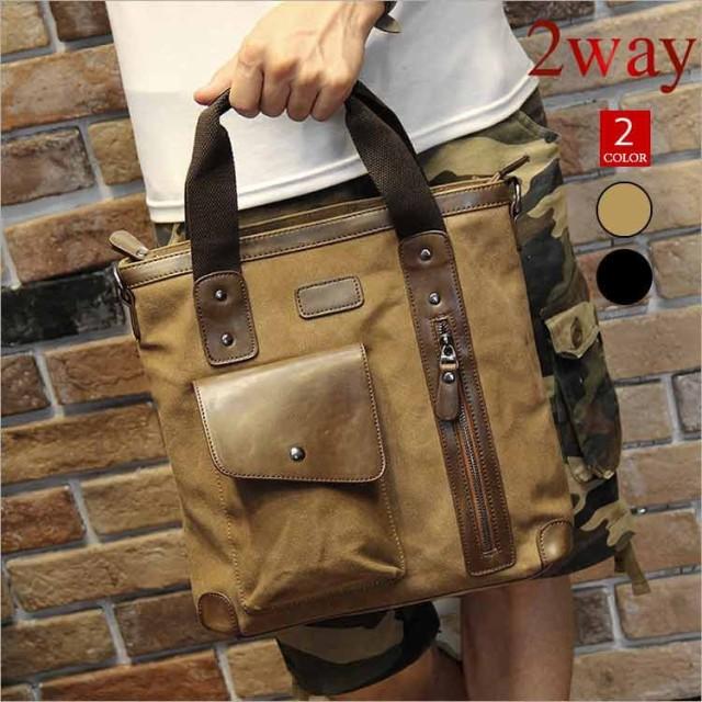 e9ac74fd43d2 ショルダーバッグ メンズ 帆布バッグ 人気 新作 キャンバス バッグ 斜めがけ カバン 2way 鞄 メ
