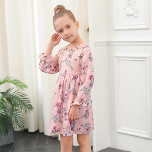 ad11803a6fb22 ワンピース ピンク 花柄 ラウンド襟 長袖 キッズ 子供 女の子 子供服 おしゃれ カジュアルお出かけ