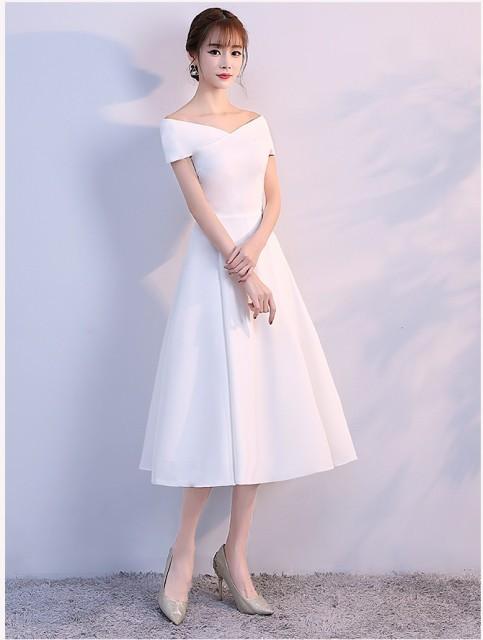 シンプル オフショルダー ドレス ミモレ丈 ドレス 結婚式 お呼ばれ