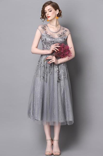 716fc183a34de 上品 ゴージャス 総レース ミモレ丈 お呼ばれ ドレス 結婚式 お呼ばれドレス パーティードレス 二次会 ワン