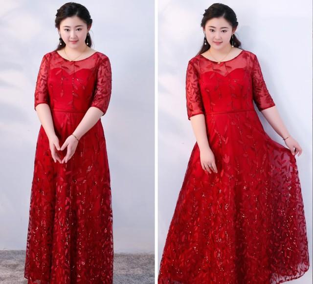 50226d1d0147f レース 刺繍 結婚式 パーティードレス 袖あり 大きいサイズ ロング お呼ばれ 6l 5l 4l 3l