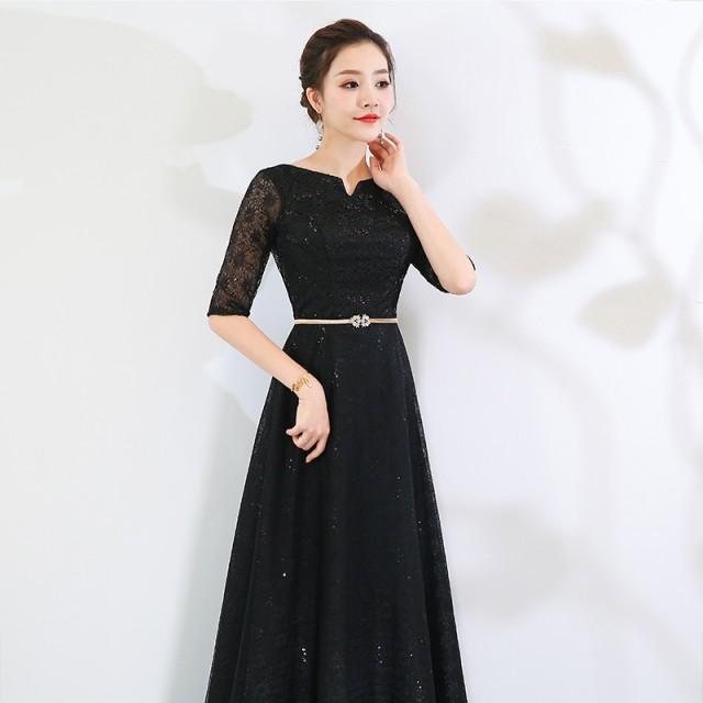 cfdc2c8e56889 ビーズ刺繍 結婚式 パーティードレス 袖あり 大きいサイズ ロング お呼ばれ 6l 5l 4l 3l