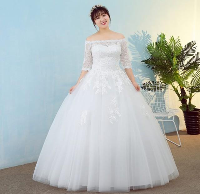 人気 オフショルダー 結婚式 パーティードレス 袖あり 大きい