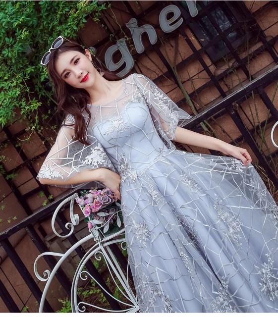 aa5200375459e フリル 刺繍 シフォン 膝下 ロングワンピース パーティードレス 結婚式 二次会 披露宴 パーティー お呼ばれ 20代