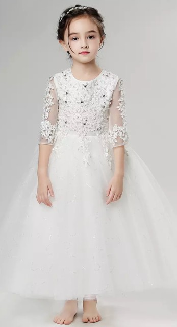 b25397ca793d9 子供 ドレス ロングドレス ホワイト 花柄 ピアノ 発表会 ドレス 子供 130 140 150 160