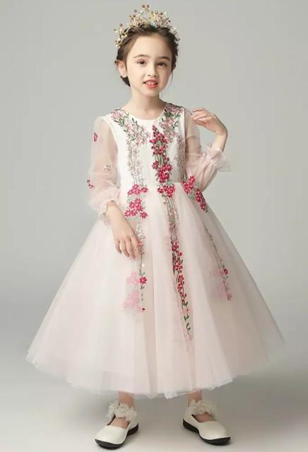 e5f9bd2666858 ドレス 子供 キッズ 女の子 花柄 ロングドレス ピアノ 発表会 子供服 韓国 おしゃれ お出かけ