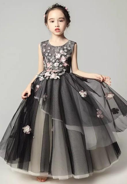 34e49e7f8b9ff お花のロングドレス ブラック ピアノ 発表会 ドレス 子供 130 140 150 160 ドレス 子供