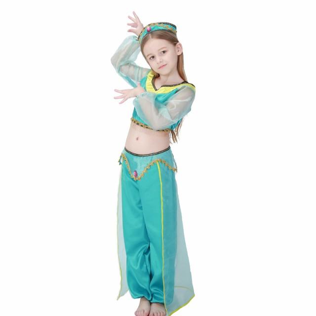 5e597222911c6 アラジン 女の子 衣装 コスチューム ハロウィン ダンスウェア インド 舞踊 ジャスミン エスニック 服 コスプレ キッズ