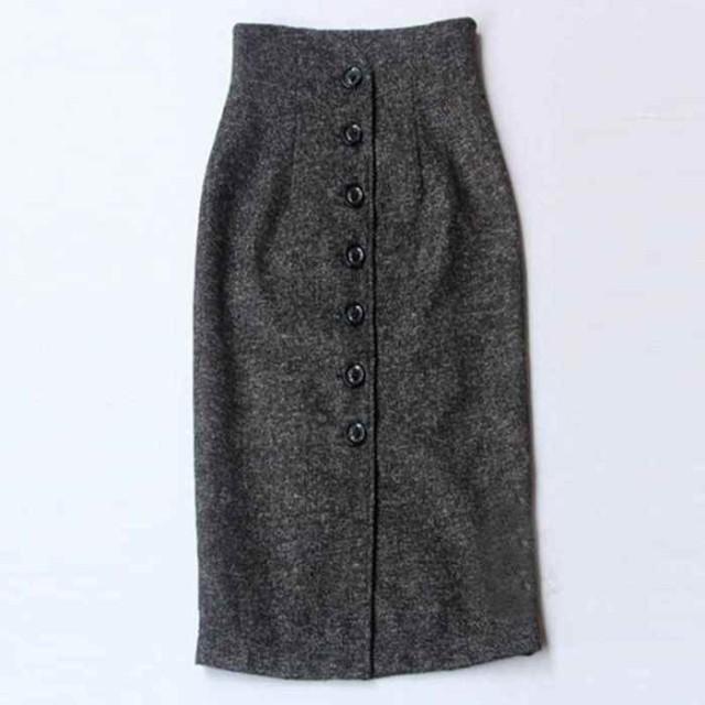 秋冬2色ハイウエストボタンスカート 大人上品 ロングスカート レディース ミモレ丈スカート 大きいサイズ マキシスカート