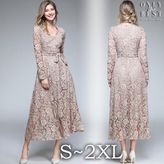 e4ee1abe13247 マキシ丈 ワンピース 結婚式 お呼ばれ ドレス 20代 30代 40代 袖あり パーティー