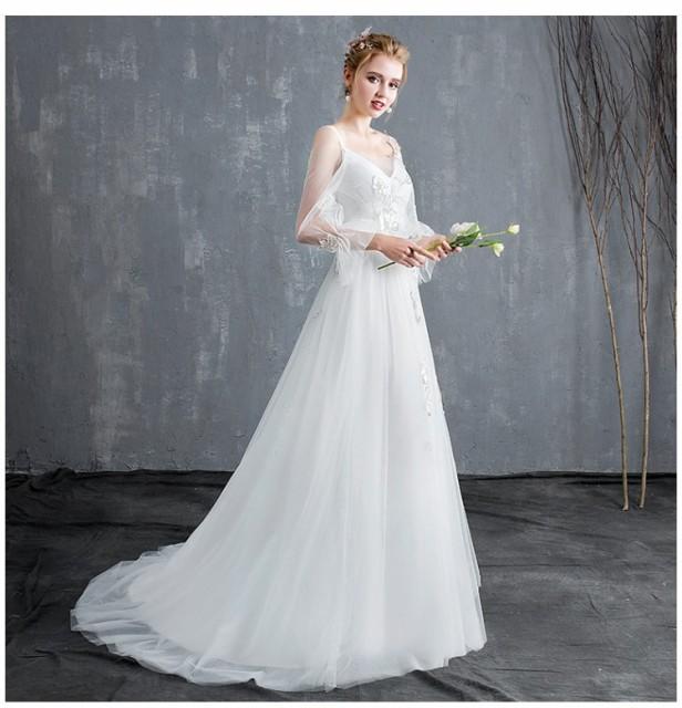 c0b7488ad2c84 weddingパーティードレス ウェディングドレス 白 二次会 花嫁 ウェディングドレス 大きいサイズ ウェディングドレス 袖あり
