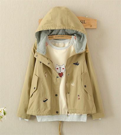 二枚送料無料/森ガールパーカー 刺繍入りジャケット コート レディース 可愛い 長袖 カジュアル トップス アウター フード付きジャケット
