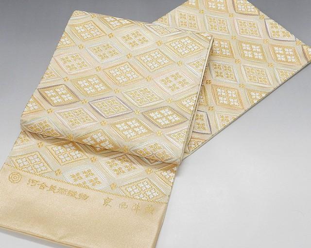 大きな割引 袋帯(未仕立)(仕立て代込み) (袋帯)新品仕立付き 正絹 西陣[河合美術織物謹製]能寿花菱変り七宝文-和装・和服