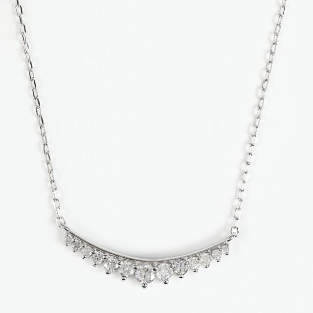 最低価格の K18WG ダイヤモンドネックレス ダイヤ 13石 0.22ct (K18WG アズキチェーン 40cm), すりいでぃ 7fc72240
