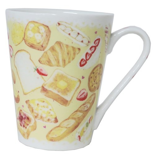 たけいみき マグカップ 陶器製mug パン 300ml ガーリーイラスト グッズの
