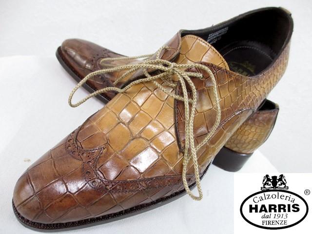 超爆安 ハリスharris新品イタリア製クロコダイル型押しレザー皮革シューズ26cm茶ブラウン赤レザーソールブタンソール赤紐替え紐付(qz10610)-靴・シューズ