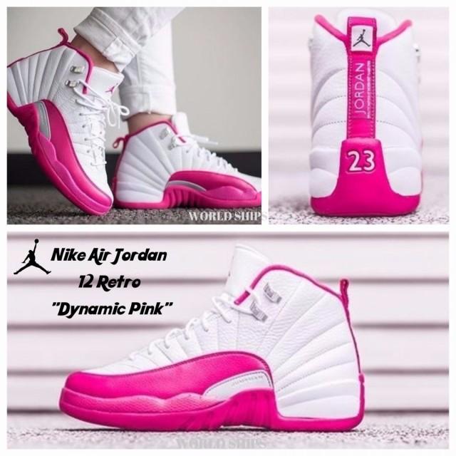 最終決算 Pink ホワイト/ピ Air ナイキ 12 スニーカー ジョーダン Nike プレミア付き!エア Retro Jordan Dynamic GG-靴・シューズ