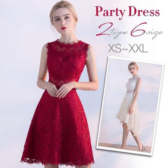 2a66318a145ff パーティードレス 結婚式 ドレス 袖なし 総レース 成人式 パーティドレス 忘年会 披露宴 ワンピース