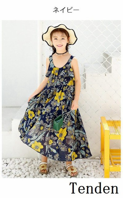 d694704ead2bd 子供服 女の子 ワンピースドレス 超可愛い 韓国 花柄 ロング おしゃれ 海へ ワンピース シフォン
