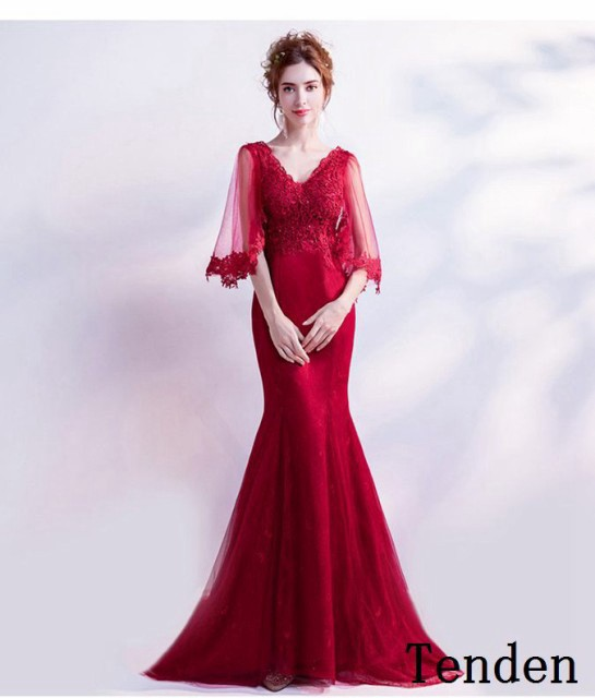 5e1aea59f4267 ロングドレス マーメイド 赤 カラードレス ボレロ 発表会 イブニングドレス パーティードレス コンサート 二次会 披露宴