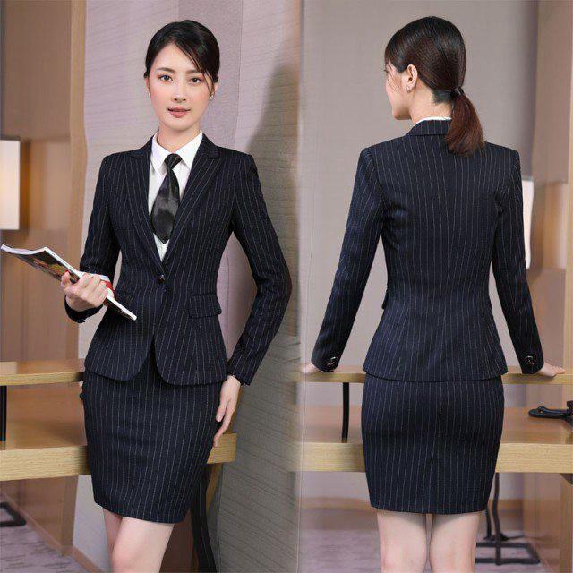 51b05d268ab066 ビジネスパンツスーツ スカートスーツ ストライプ レディースフォーマル/事務服/長袖スーツ/OL