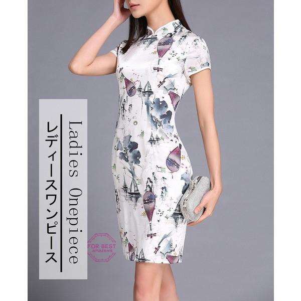 2a95541d769f4 チャイナ風ワンピース 膝丈 結婚式 二次会 40代 100%シルク チャイナドレス 服装