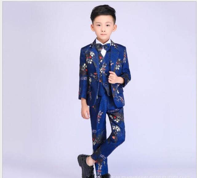 7d7e36b1a97ee 上品 花柄 キッズスーツ 3点セット 男の子スーツ フォーマルスーツ 子供スーツ 男児 80