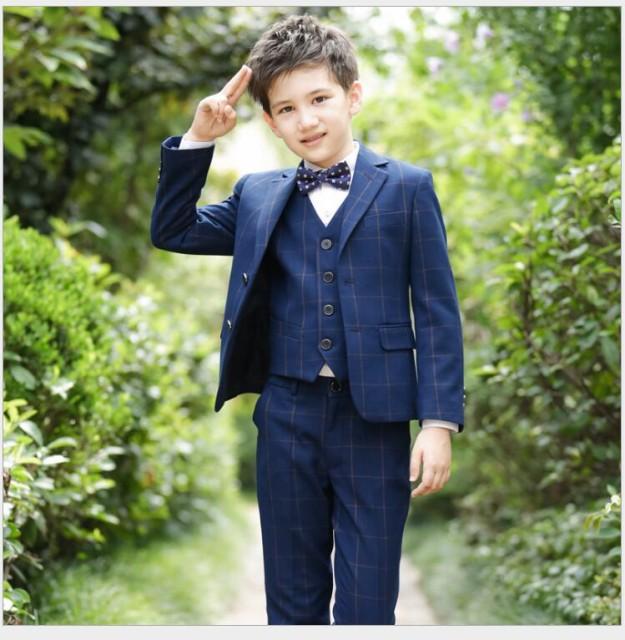 3047d24bcc08f 5点セット 男の子スーツ チェック柄 子供服スーツ フォーマルスーツ 入学式 ジュニア キッズ